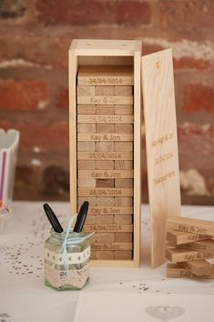 How cute is this? DIY Jenga Wedding Guestbook idea -- Take a regular Jenga game and have your guests write sweet notes + sign their names. Burn your wedding date and the bride and grooms names into t Trendy Wedding, Unique Weddings, Diy Wedding, Rustic Weddings, Wedding Ideas, Outdoor Weddings, Country Weddings, Summer Weddings, Romantic Weddings