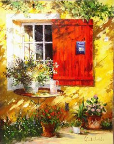 Oil painting of a village window with flowers and bicycle. This vibrant color oil painting is perfect for your home or office decor. Oil Painting Frames, Oil Painting Flowers, Love Painting, Oil Painting On Canvas, Painting & Drawing, Canvas Art, Knife Painting, Large Canvas, Art Expo