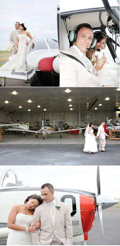 Wedding photo shoot at an airport, love this idea!