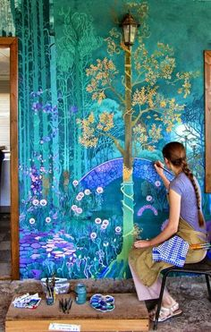 Wall murals painted chinoiserie 43 Ideas for 2019 Life In Russia, Fantasy Landscape, Fantasy Art, Spring Landscape, Fantasy Forest, Mural Art, Painting Murals On Walls, Fairy Tales, Fairy Land