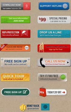 Buy 15 Call-To-Action Buttons by corrella on GraphicRiver. 15 Call-To-Action Buttons Features: All elements are vector shapes and fully editable. All layers are organized in gr. Example Of Website, Website Ideas, Buttons For Website, Free Web Design, 404 Pages, Vector Shapes, Vector Vector, Instructional Design, Buttons