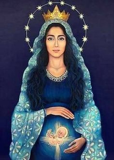 The Blessed Virgin Mary in Scripture and Tradition. Queen of Heaven. Blessed Mother Mary, Divine Mother, Blessed Virgin Mary, Virgin Mary Art, Catholic Art, Religious Art, Catholic Saints, Mama Mary, Mother Art