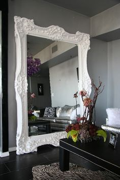 Over-sized floor mirror in pure white. Beautiful!!