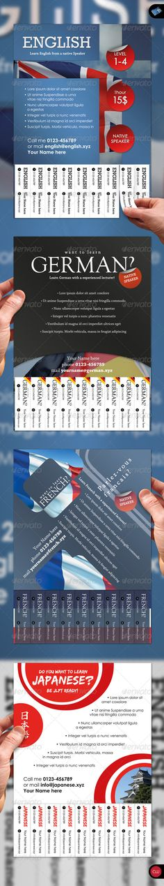 Tear-Off Flyer - Vol.2 - Languages  #GraphicRiver          Tear-Off Flyer Vol.2 – Languages is the best way to promote your own little service or business. This set is adjustable for every language you want to teach. Just edit it to your needs, print it out and stand out from all that other Tear-Off Flyer crowd you usually see. Enjoy! FEATURES   4 .psd files included   Edit just one text to change all tear-off tabs  300dpi  CMYK  Print Ready   DIMENSION A5 (ISO/DIN)   148mm x 210mm  3mm…