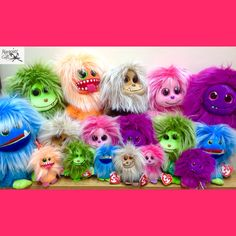 Magpies Gifts, Cute Stuffed Animals, Green And Orange, Make Me Smile, Cuddling, Purple, Pink, Plush, Monsters