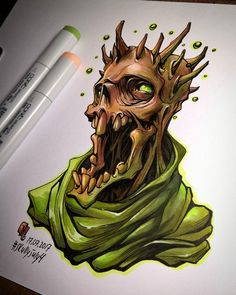 Graffiti Cartoons, Graffiti Characters, Graffiti Art, Demon Drawings, Dark Drawings, Skull Sketch, Copic Art, Skull Artwork, Cute Art Styles