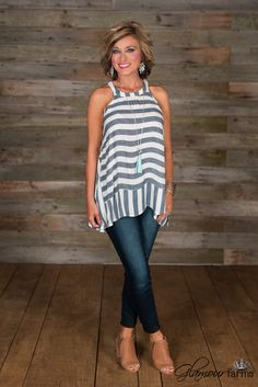 Glamour Farms Boutique Walk With Me Striped Top – Denim/Ivory Clothes For Women Over 40, Summer Outfits Women Over 40, Spring Outfits, Over 50 Womens Fashion, Fashion Over 50, Casual Outfits, Cute Outfits, Fashion Outfits, Get Dressed