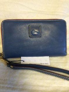 NWT Dooney & Bourke Denim Blue Leather Phone Wristlet Wallet