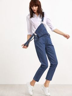 ff1a884c237e01 Shop Blue Pinstripes Overall Jeans With Pocket online. SheIn offers Blue  Pinstripes Overall Jeans With Pocket & more to fit your fashionable needs.