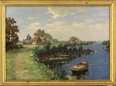 """Lote 4082 - ARNOUT VAN GILST (1898-1982) - Original - Pintura a óleo sobre tela, assinada, motivo """"Paisagem"""", com 50x70 cm (moldura dourada com 57x77 cm, com pequenas falhas). Nota: Arnout Van Gilst foi pintor e desenhador de paisagens, fazendas, plantações, entre outros. Foi aluno da Academia V.B.K. em Haia, onde ele começou como escultor. Depois de 1923, começar a pintar. Arnoud Van Gilst viveu e trabalhou em Haia até 1937 e em seguida, em Haarlem. - Current price: €140"""