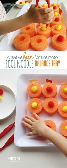 Summer is just around the corner! Use extra pool noodles to build your own pool noddle fine motor balancing game. It's perfect for preschoolers! Quiet Toddler Activities, Outdoor Activities For Kids, Sensory Activities, Toddler Preschool, Toddler Crafts, Learning Activities, Preschool Activities, Teaching Ideas, Toddler Play