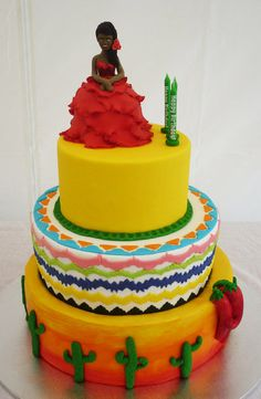 Caliente! Caliente! Mexican Fiesta themed party with the hot desert sun tier, cactus and red hot chilli peppers, neon aztec middle tier and a senorita with roses in her hair to match the birthday girl. Chocolate cake with hazelnut mousse filling and vanilla bean cake with mango mousse filling