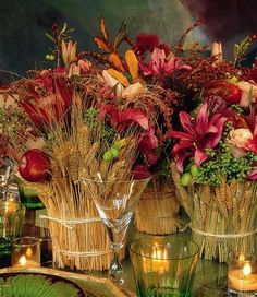 table setting. wheat, fruit & flowers. - beautiful.