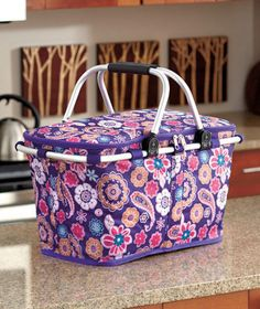 Collapsible Insulated Purple Paisley Picnic Basket Tote Folding Outdoor Camping #THEBIGDISCOUNT