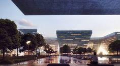 Nanhai Cultural Center in Foshan by Schmidt Hammer Lassen Architects/ Guangdong, China 3d Architectural Visualization, Architecture Visualization, Schmidt, 3d Architecture, Urban Park, Parking Design, Cultural Center, Seattle Skyline, Skyscraper
