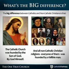 All non-Catholic Christian denominations were founded by men who left the Catholic Church and took out some of her teachings to suit their ideas. Catholic Doctrine, Catholic Religion, Catholic Prayers, Catholic Saints, Roman Catholic, Christianity, Catholic Traditions, Orthodox Catholic, Catholic Churches