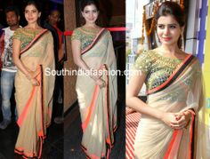Actress Samantha Ruth Prabhu attended Asian Cinemas Launch event at Hyderabad in Arpita Mehta's light cream color net saree with gold, black and neon orange triple border paired up with multi color cut work and mirror work blouse. She looked sweet and simple.
