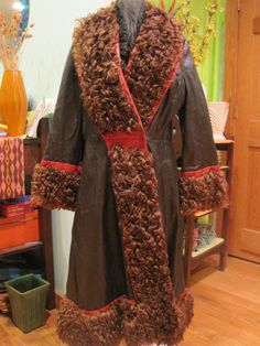 Mod Vintage Black Brown Red Leather Curly Fur Maxi by girlgal6, $110.00