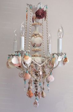 she sells sea shells down by the sea shore! - love it for a beach theme. Nautical Chandelier, Seashell Chandelier, Chandelier Picture, Seashell Art, Seashell Crafts, Beach Crafts, Bathroom Chandelier, Chandelier Ideas, Chandeliers