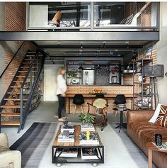 House interior rustic loft couch Ideas for 2019 Loft Estilo Industrial, Industrial House, Industrial Interiors, Kitchen Industrial, Industrial Lighting, Industrial Style, Industrial Office, Kitchen Wood, Industrial Design