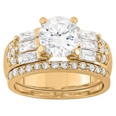 3.22 CT. T.W. Elegant 8mm Round-Cut Cubic Zirconia with Baguette Side Stones 3-Piece Bridal Set In 14K Gold Over Silver - (9), Women's, Yellow