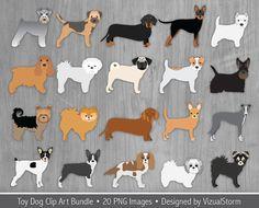 Toy Dog Clip Art Bundle. 20 Lap dog illustrations. #toydogs #lapdogs #smalldogs #foofoodogs #dogclipart #petclipart #dogillustration #petportraits #digitaldogs #toydogclipart #cutedogclipart