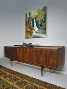 Robert Heritage Hamilton sideboard - painting 'Lumsdale' by Lindsey Hambleton Walnut Sideboard, Credenza, Hamilton, Mid-century Interior, Mid Century, Interiors, Cabinet, Storage, Design