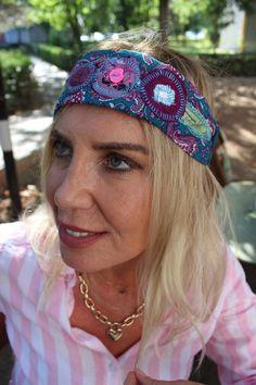 Hippie headband, Blue recycle head, Yoga headband, Patchwork hair band, Boho headband, Unique products, Handmade headband, Women's Fashion