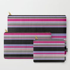 Complex Stripes Pink & Purple Carry-All Pouch by laec Beautiful Bags, Pink Purple, Carry On, Stitching, Zip Around Wallet, Pouch, Stripes, Stuff To Buy, Costura