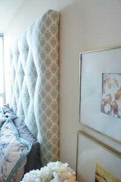 Master: DIY fabric headboard / I like but not quite so tall