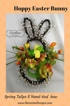 Cute bunny all trimmed with tulips! decor door hanger decor with tulips decor ideas rabbit wreath Easter Crafts, Easter Decor, Easter Centerpiece, Bunny Crafts, Easter Table, Easter Party, Easter Ideas, Centerpieces, Hoppy Easter