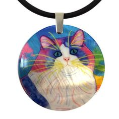 Zapata's World (Blue Version) Round Mother of Pearl Cat Art Pendant Necklace by Claudia Sanchez Shell Pendant, Pendant Necklace, Cat Colors, Cat Jewelry, Cat Art, Wearable Art, Iridescent, Jewelry Collection, Original Artwork