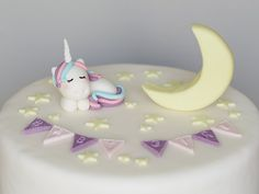 Baby Shower Unicorn, Stars and Moon Cake Topper, Fondant, Twinkle Twinkle Little Star, Personalized Fondant Cake Toppers, Fondant Baby, Baby Unicorn, Cute Unicorn, Unicorn Cake Topper, Moon Cake, Sugar Paste, Twinkle Twinkle Little Star, Stars And Moon
