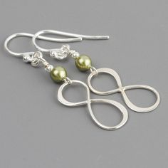 SIX pairs of earrings - perfect for bridesmaids!  See my matching necklace on my Silver Pendants board.  SET OF 6 Green Pearl Earrings, Sterling Sivler Infinity Earrings, Sage Green Pearl Dangle Earrings, Drop Earrings, Wedding Bridesmaid Gift - $129 -