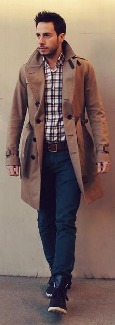 Adding a #trench coat can drastically #transform your #simple look - Love the plaid shirt btw #HandsomeMenWithStyle #MensFashion