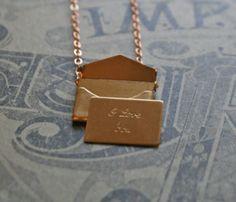 'I Love You' Envelope Love Letter Charm Necklace.