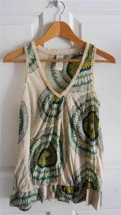 ANTHROPOLOGIE C KEER sz S cream green blue floral burst embroidered trim tank #Anthropologie #KnitTop