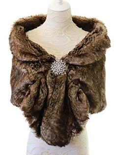 Aukmla® Women's Wedding Fur Wraps and Shawls, Faux Fur Stole for Bride with Brooch