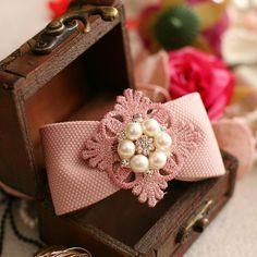 出口礼物韩国手工蕾丝珍珠蝴蝶结发饰头饰边夹发圈发插发箍M