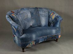 Jeans patchwork denim sofa chair armchair - London - I want one! Jean Crafts, Denim Crafts, Denim Furniture, Denim Sofa, Swivel Rocker Recliner Chair, Sofa Chair, Slipcover Chair, Leather Recliner, Wingback Chairs
