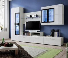 Kane 2 Dimensions: Height - 190 cm Width - 270 cm Depth - 45 cm Height / Width / Depth Large Stand Display Cabinet : cm with LED Lights TV Cabinet: cm Hanging glass-case: cm Wall panel: cm Modern Tv Room, Modern Tv Wall Units, Modern Wall, Living Room Wall Units, Living Room Tv Unit Designs, Tv Unit Decor, Tv Wall Decor, Wall Unit Designs, Tv Wall Design