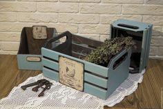 """Купить Набор ящиков """"Гурман"""" - голубой, набор для кухни, набор для кухни декупаж, для кухни"""