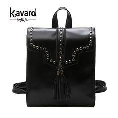 aad2bf5ca208 Kavard Fashion Bright Women Backpack Tassel Rivets Girls School Bags Pu Leather  Female Shoulder Bag back pack cute backpack 2017