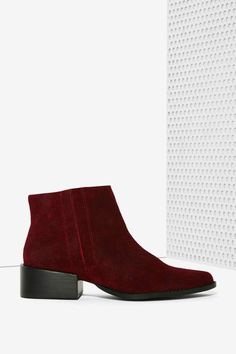 Grey City West Suede Ankle Boot - Burgundy