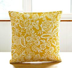 ***Pattern placement WILL vary to the one shown.***  This listing is for one lovely 16 inch (40 cm) decorative pillow cover featuring a white floral and foliage design on a mustard yellow background.  Fabric is the SAME on the reverse which has an envelope opening / FULLY lined / serged. 100 % cotton medium home decor weight / washable  1 x cover only supplied - pillow insert is not included  *Please read shipping policies before buying…