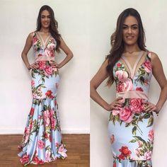 2017 Prom Glam-Pretty Print with great design Prom dress. Bridesmaid Dresses, Prom Dresses, Formal Dresses, Stylish Dresses, Fashion Dresses, Moda Fashion, Flower Dresses, Dream Dress, Dress To Impress