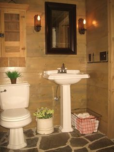 Pedestal Sink, Real Stone, Outdoor Bathroom, Wood Walls,  And Planked Walls - Traditional Powder Room By Lands End Development The Designer Designers & Builders