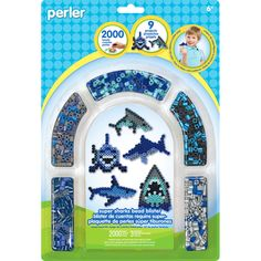 Perler-Pegboards: Fused Bead Kit: Sharks. Be creative and make your own color scheme with these clever animal templates! Have an adult finish your project by fusing yours beads with an iron This 11- 1