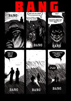 Karstein Volle presents Bang! Originally created as a reaction to Israeli overreach, this one page strip could easily apply to current EU and US policies.