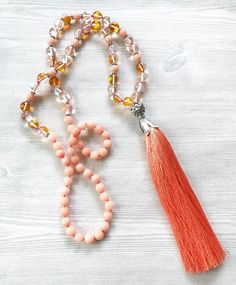 Coral Tassel Necklace, Beaded Tassel Necklace, Knotted Gemstone Necklace, Quartz and Jade Necklace, Summer Necklace, Boho Statement Necklace by FlowersInMyHairShop on Etsy https://www.etsy.com/listing/531916401/coral-tassel-necklace-beaded-tassel